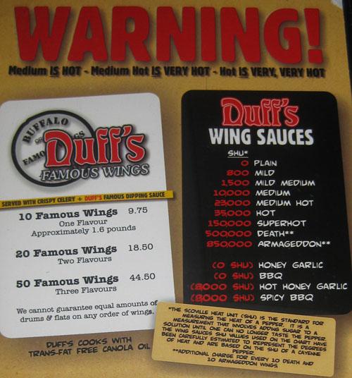 duff menu