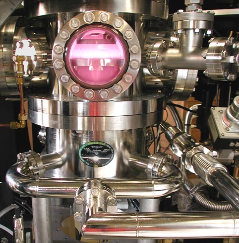 A plasma chamber with all the gleaming bolts and piping a steampunk could ever need. (University of Iowa)